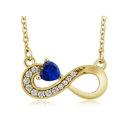 18k Sapphire Necklace - 0.62 Ct Blue Simulated Sapphire 18K Yellow Gold Plated Silver Infinity Necklace