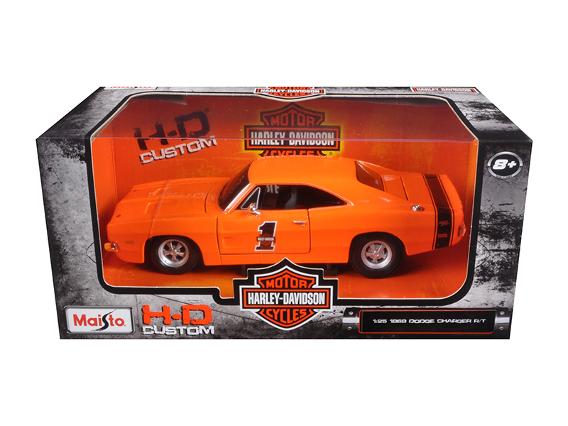 1969 Dodge Charger R T Harley Davidson Orange 1 25 Diecast Model Car by Maisto by Maisto