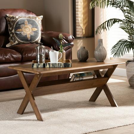 Baxton Studio Sarai Modern Transitional Walnut Brown Finished Rectangular Wood Coffee Table