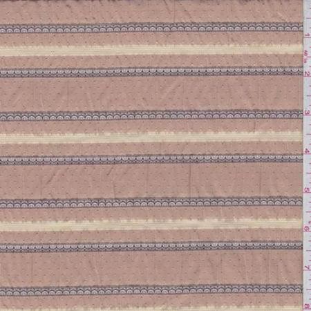 Rust Orange Scalloped Stripe Seersucker, Fabric By the Yard ()