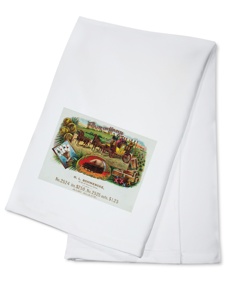Click here to buy Four In Hand Brand Cigar Box Label (100% Cotton Kitchen Towel) by Lantern Press.