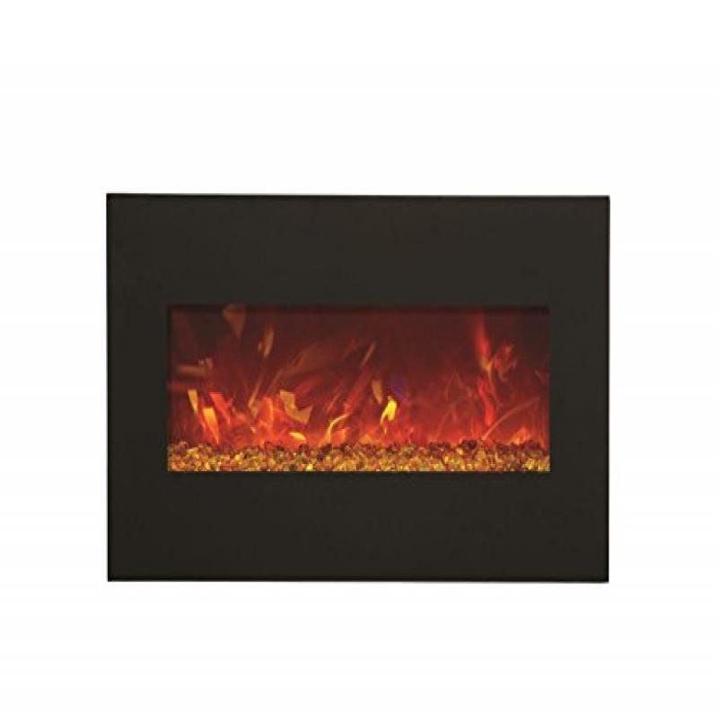 "28"" Electric Fireplace with 34"" x 21"" Black Glass Surround"