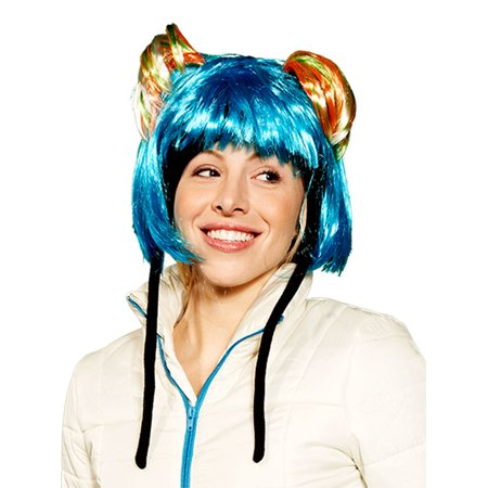 Screamer Women Pigtails Fun Hat One Size  US - Chinese Hat With Pigtail