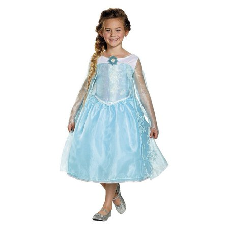 Disguise Girls' Frozen Elsa Sequin Deluxe Costume, Medium (7-8)