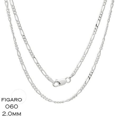 02b859c67b1dbe JS Trendz - Sterling Silver Italian Figaro 060 2mm Chain Necklace -  Walmart.com