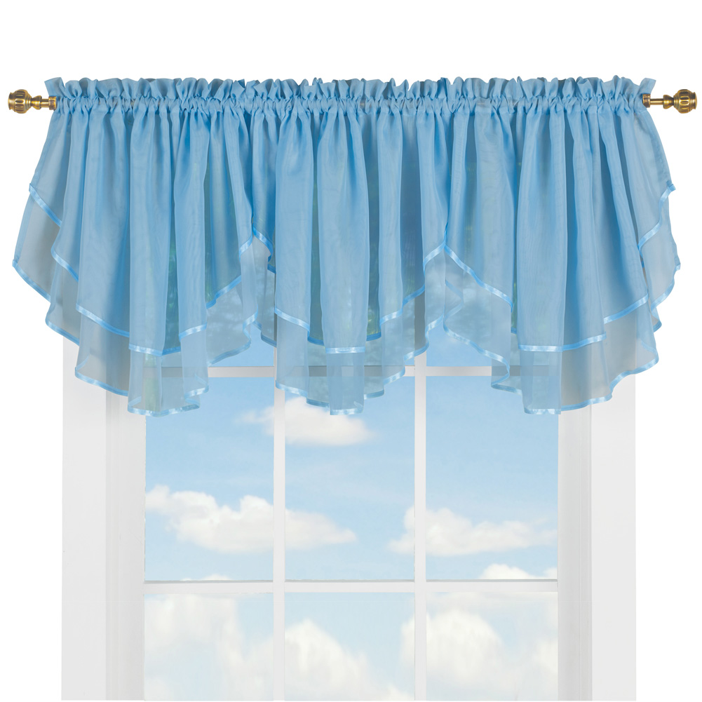 Elegant Sheer Layered 3pc. Ascot Valance Curtain Topper with Rod Pocket Top, Blue