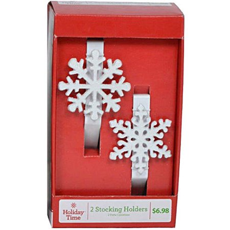 holiday time christmas snowflake stocking holder set of 2. Black Bedroom Furniture Sets. Home Design Ideas