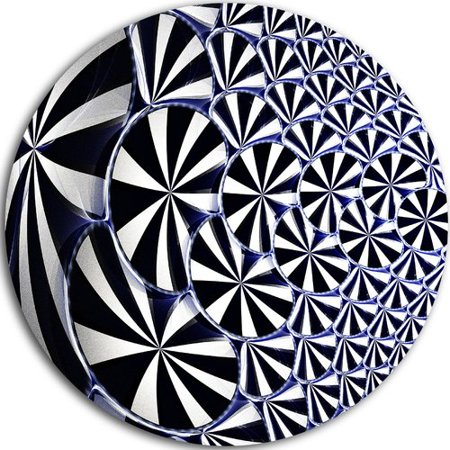 DESIGN ART Designart '3D Shaped Black and White Flower Design' Modern Floral Large Disc Metal Wall art
