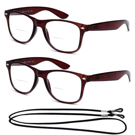 2 Pack Bifocal Vintage Style Comfortable Stylish Simple Reading Glasses With (Bifocal Reading Glasses Target)