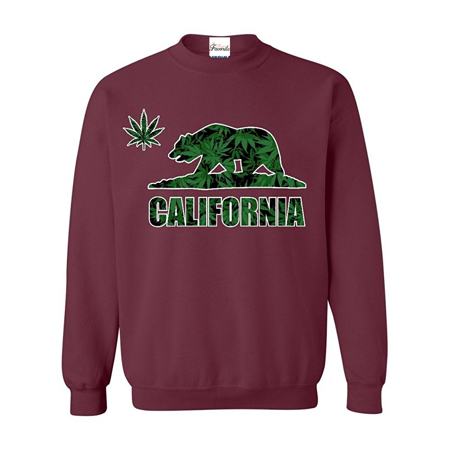 California Republic Weed Bear Crewnecks Weed Smoker Sweatshirts