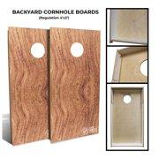 Slick Woody's Backyard African Rosewood Rustic Cornhole Board Set in Natural