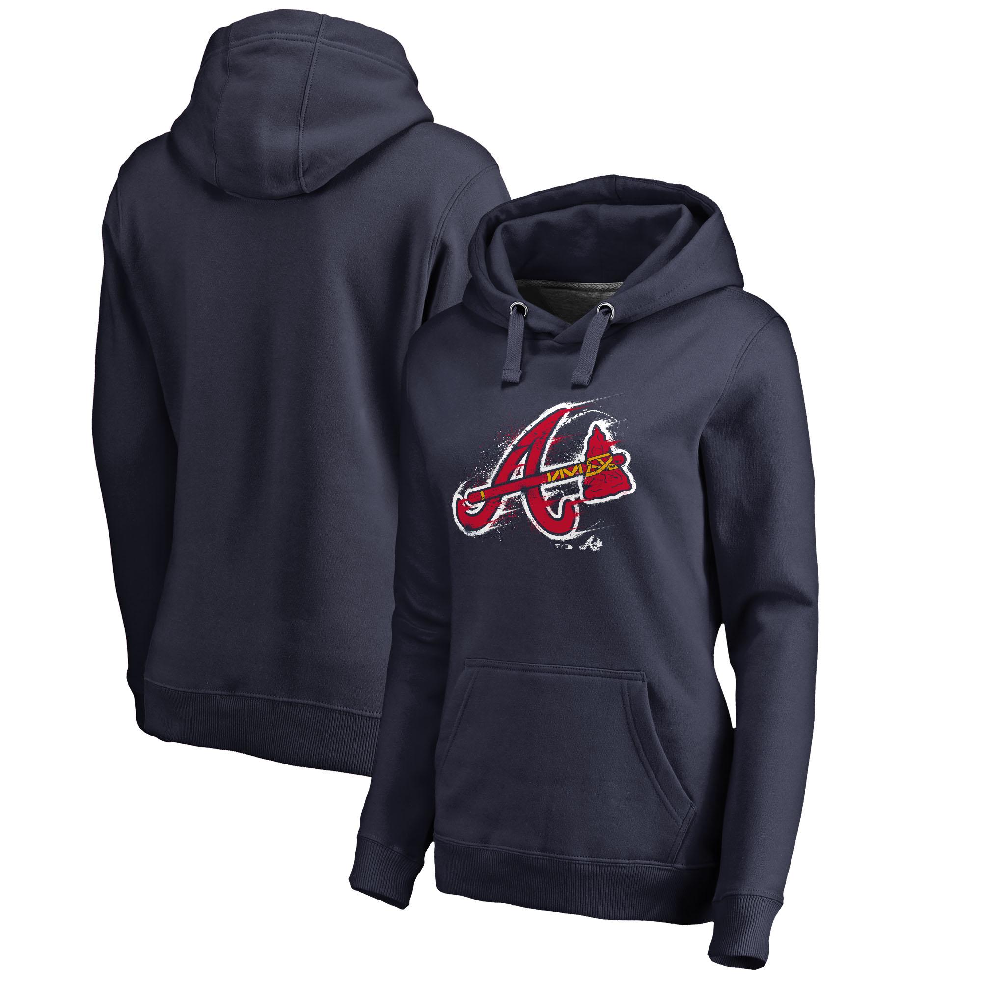 Atlanta Braves Fanatics Branded Women's Splatter Logo Pullover Hoodie - Navy