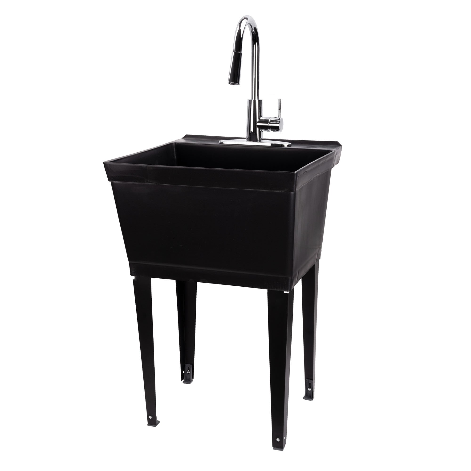 19 Gallon White Utility Sink with Black High Arc Dual Handle Faucet 6509BLK