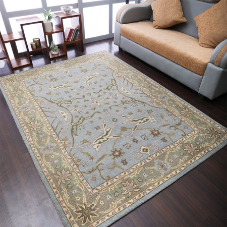 Rugsotic Carpets Hand Tufted Wool 6'x9' Area Rug Oriental Blue Green K00503 Hand Tufted Olive Green
