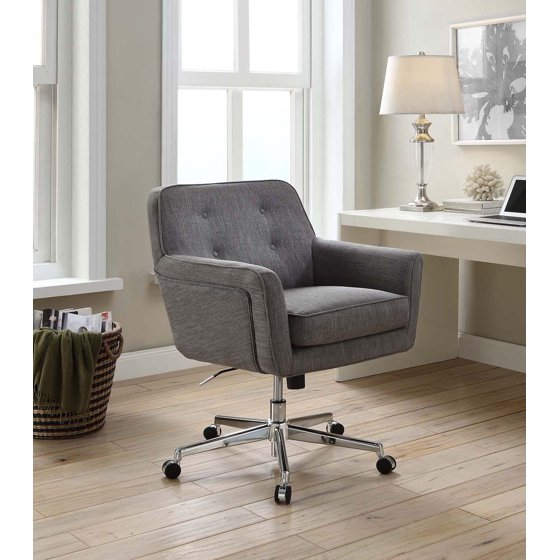 Serta Style Ashland Home Office Chair, Gray Twill Fabric