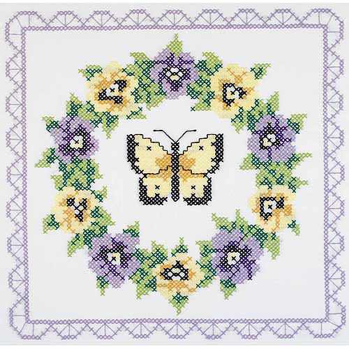 "Janlynn Stamped Cross-Stitch Quilt Blocks, 6pk, 18"" x 18"", Pansy Wreath"