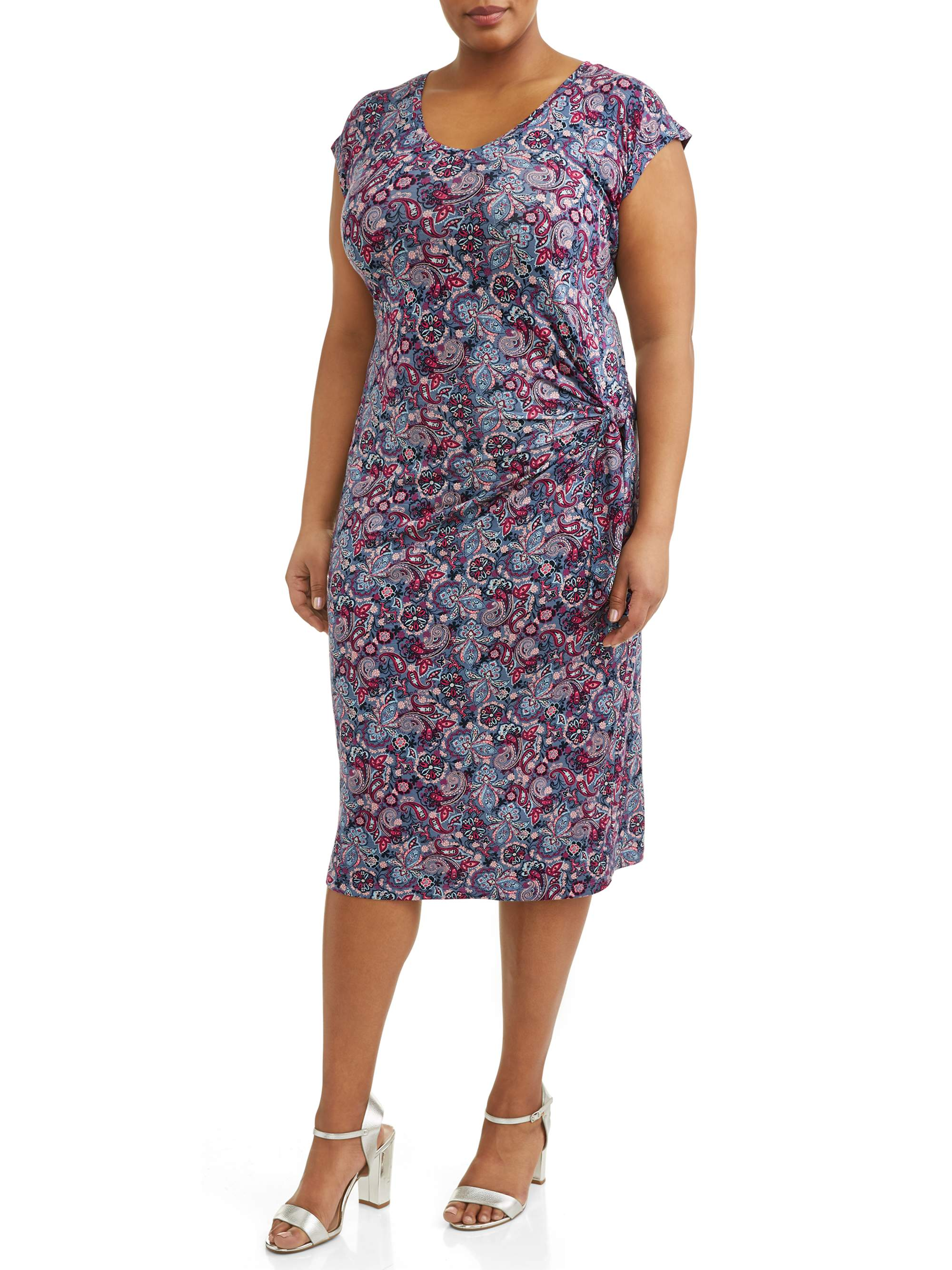 Women's Plus Size Short Sleeve Wrap Tie Knit Dress