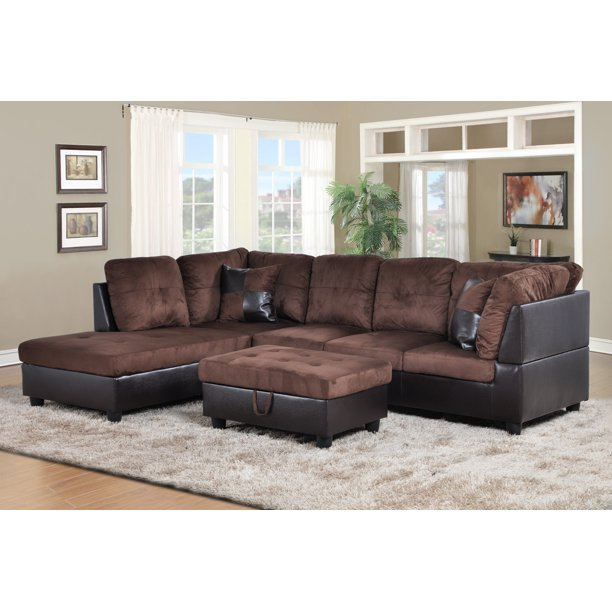 Sectional Sofa_AYCP Furniture_ 3pcs L-Shape Sectional Sofa Set, Left Hand Facing Chaise, Microfiber & Faux Leather Upholstery Material, Chocolate Color, More Colors & Styles Available