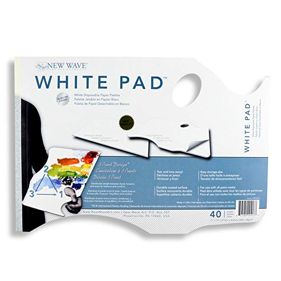 New Wave - White Pad Paper Palette - Hand Held