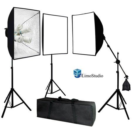 Head Studio Kit (Loadstone Studio Photo Video Studio 2400 Watt Softbox Continuous Light Kit with Overhead Head Light Boom Kit, WMLS3020 )