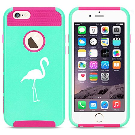 For Apple iPhone 7 Shockproof Impact Hard Soft Case Cover Flamingo (Light Blue-Hot Pink)