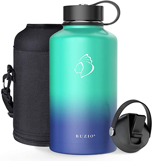 Spout Lid Cold for 48 Hrs Hot for 24 Hrs Double Vacuum Thermo Canteen Mug 40oz 64oz Stainless Steel Water Flask Jug BPA-Free Hand Lid and Carrying Pouch BUZIO Water Bottle with Straw lid