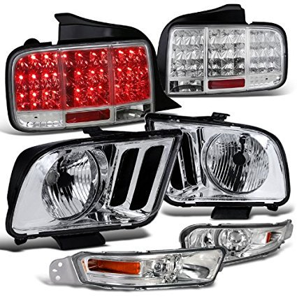 Ford Mustang GT Crystal Chrome Headlights+Clear Bumper Lights+LED Tail lights