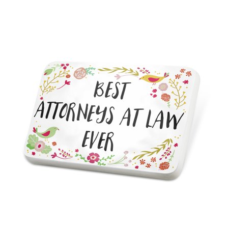 Porcelein Pin Happy Floral Border Attorneys At Law Lapel Badge – (Pink Floral Border)