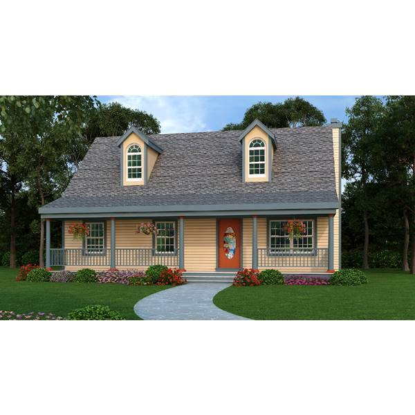 TheHouseDesigners-3800 Small Cottage House Plan with Slab Foundation (5 Printed Sets)