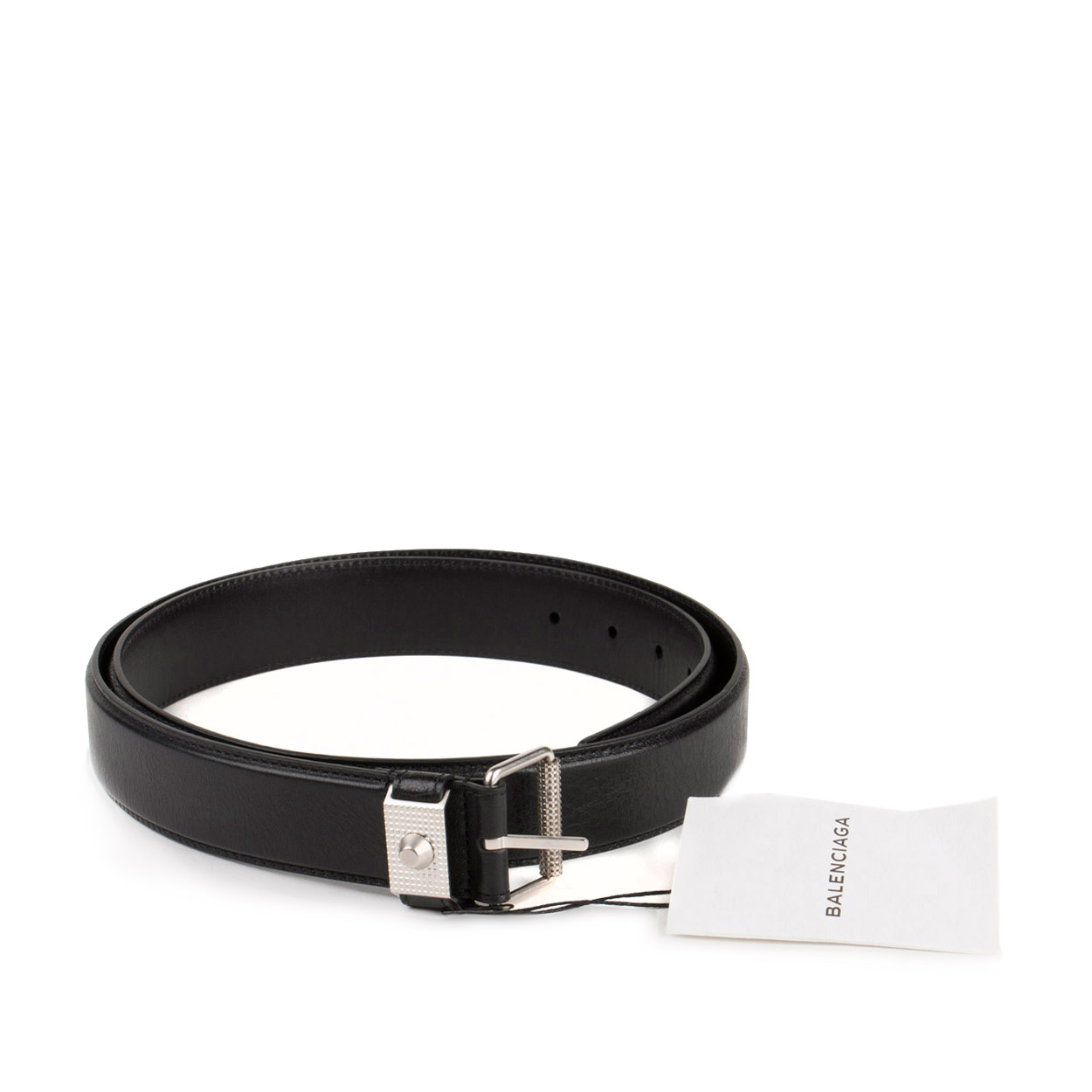 Balenciaga Mens Arena Studded Black Leather Belt