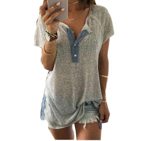 Satin Short Sleeve Top (Plus Size Womens Short Sleeve Loose Casual Button Blouse T Shirt Tank Tops )