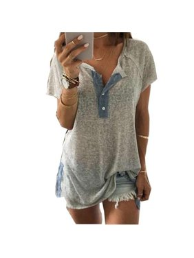 569a6c19d2f404 Product Image Plus Size Womens Short Sleeve Loose Casual Button Blouse T  Shirt Tank Tops