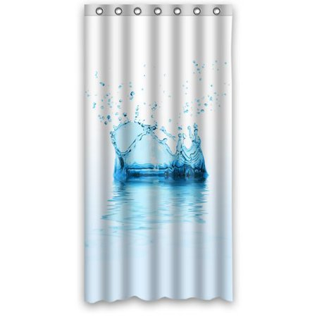 GreenDecor White Blue Water Drop Raindrops Waterproof Shower Curtain Set With Hooks Bathroom Accessories Size 36x72 Inches
