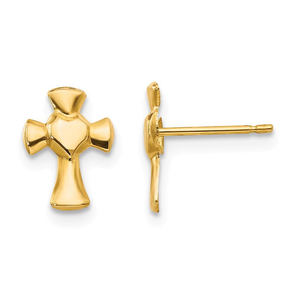 14k Yellow Gold Childs Heart Cross Post Earrings w/ Gift Box (10MM Long x 6MM Wide)