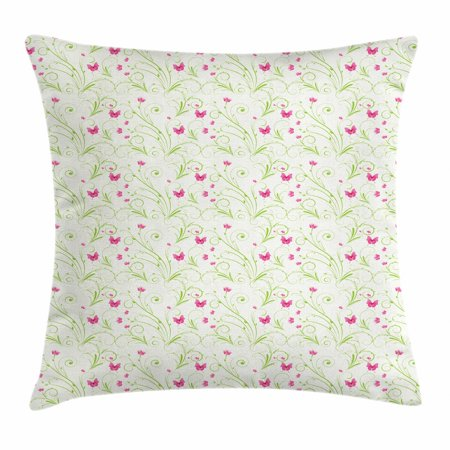Pink Butterfly Hard Graphic - Floral Throw Pillow Cushion Cover, Graphic Ornament with Curvy Stems Blooming Petals and Butterflies, Decorative Square Accent Pillow Case, 16 X 16 Inches, Apple Green Pink and White, by Ambesonne