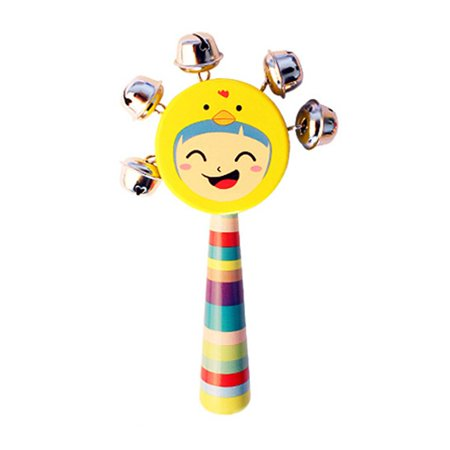 JOYFEEL Clearance 2019 Baby Smile Faces Natural Wooden Hand Bells Rattles Educational Jingle Ring Toys for Kids/Child Random Color Best Toy Gifts for Children