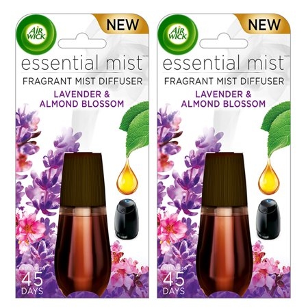 Air Canister Refills ((2 pack) Air Wick Essential Mist Fragrance Oil Diffuser Refill, Lavender & Almond Blossom, 2)