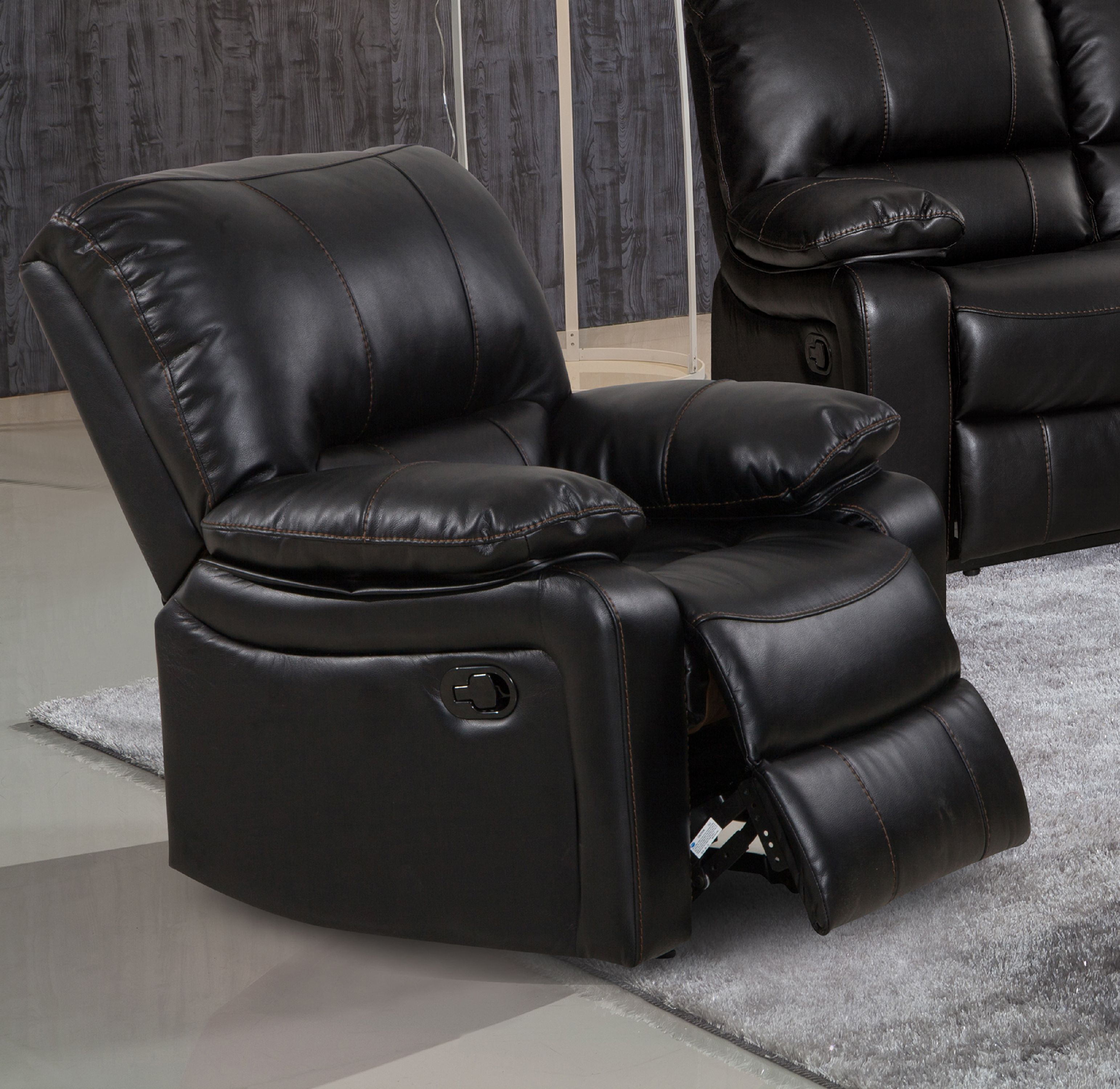 Evelyn Black Leather Gel Reclining Rocking Chair by Supplier Generic