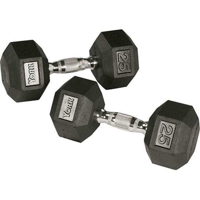 York Barbell 34055 Rubber Hex Dumbbell with Chrome Ergo Handle - 15 lbs
