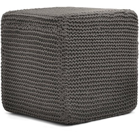 Urban Shop Square Knit Pouf Ottoman Multiple Colors