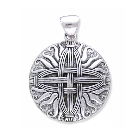 Sterling Silver Woven Sunray Medallion St  Bridget   Brigids Celtic Cross Knot Pendant