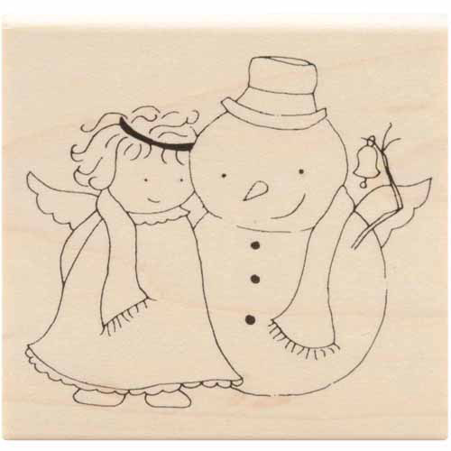 """Inky Antics Mounted Rubber Stamps-Angel & Snowy's Bell 2-1/2""""X2-3/4"""""""