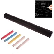 INTBUYING Black Chalkboard Wall Sticker Blackboard Sticker Dry Erase Wallpaper Self Adhesive Decal Chalkboard Paper with 5 Free Chalks for Kids Play Study