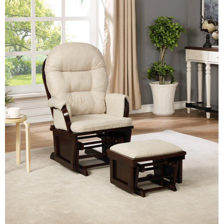 Naomi Home Amelia Glider & Ottoman Set-Cushion Color:Cream,Finish:Espresso ()