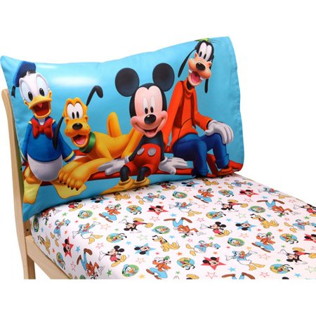Disney Mickey Mouse Playground Pals 2-Piece Toddler Sheet - Mickey Crib Sheet
