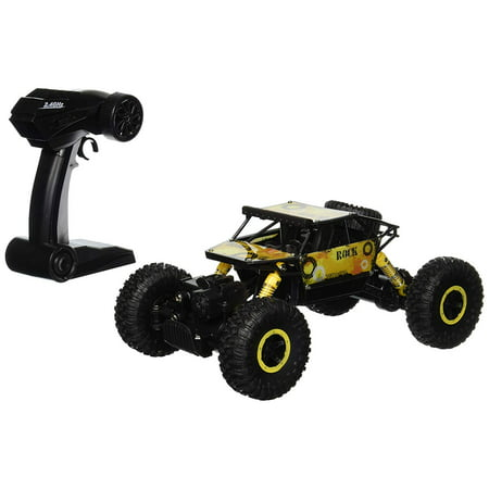 Rock Crawler Remote Control Toy Yellow Rally Buggy RC Car 2.4 GHz 1:18 Scale Size w/ Working Suspension, Spring Shock Absorbers