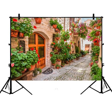 PHFZK 7x5ft European Cityscape Backdrops, Beautiful Italian Street in Small Provincial Town Photography Backdrops Polyester Photo Background Studio Props ()