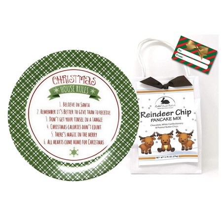 Birthday Treat Plate - Christmas Plates and Treats Gift Sets, Christmas Serving Dishes, Sugar Cookie Mix, Pancake Mix, Unique Gifts for Holidays, Birthdays Or Any Special Occasion (Christmas House Rules)