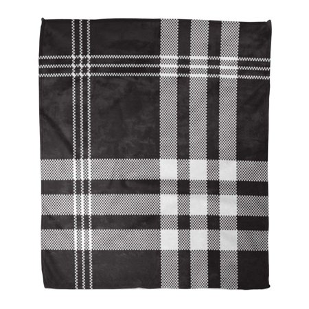 KDAGR Flannel Throw Blanket Pattern Black and White Check Pixel Plaid Pattern Printing Flannel Tartan 50x60 Inch Lightweight Cozy Plush Fluffy Warm Fuzzy Soft Black White Plaid Check Flannel