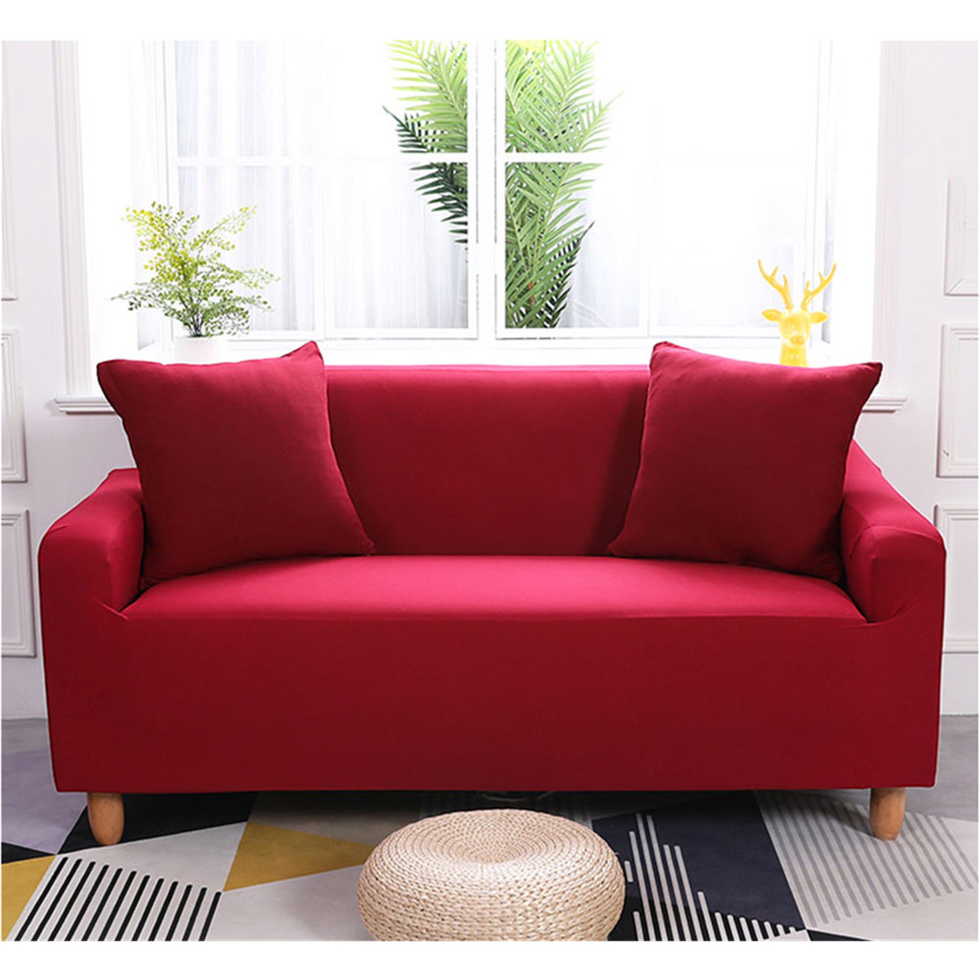 Fabric Slipcover,Stretch 1/2/3/4 Seats Sofa Cover Slipcover ,1-Piece Fabric  Sofa Protector(2Seat=57\